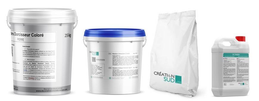 Alle Produkte, die benötigt werden, um einen Stanzbeton auf einem Frischbeton oder einem alten Estrich zu realisieren